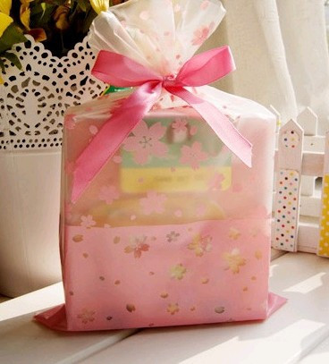 100Pcs Transparent Frosted Pink Fresh Mini Cherry Blossoms Print Gift Candy Cookie Packaging Bags