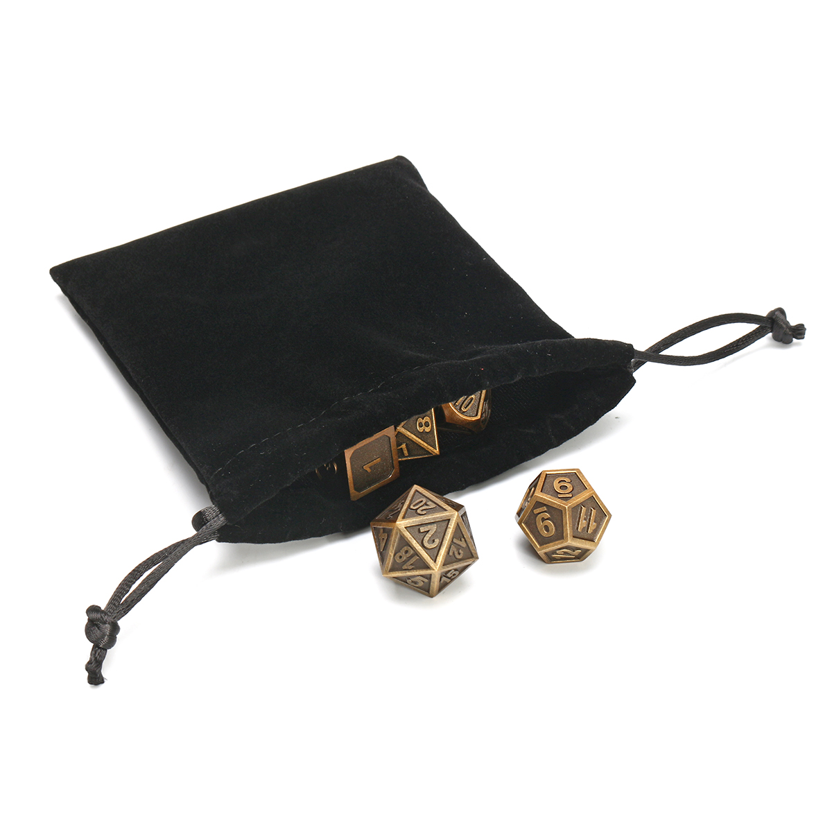 7Pcs Dice Polyhedral Dices Set Zinc Alloy Metal Polyhedral Role Multi-sided D4-D20 with Bags