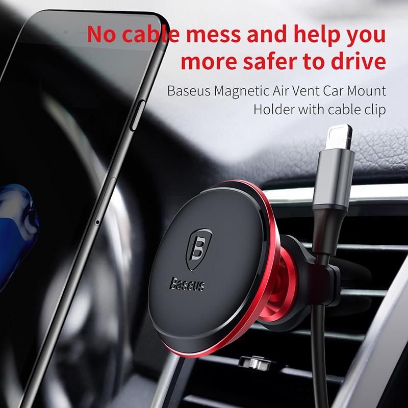 ba<x>seus Кабельный зажим Магнитного вращения Держатель авто для телефона с зажимом для кабеля Подставка для Samsung S8 iPhone X Xiaomi
