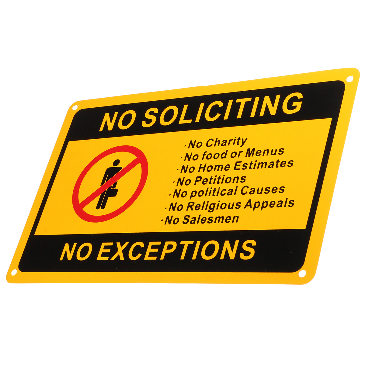 28x18cm No Soliciting No Exceptions Front Door Sign Security Warning Sticker Waterproof