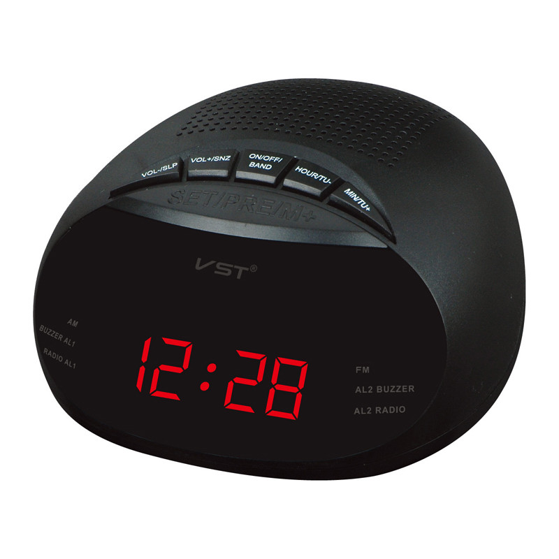 VST ST-8 EU Led Digital Radio Alarm Clock With Blue Red Green Backlight Two Groups Alarm Clock AM FM