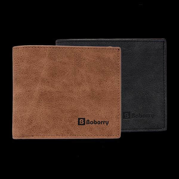 Men PU Leather Cool Short Wallet Black Brown Thin Card Holder
