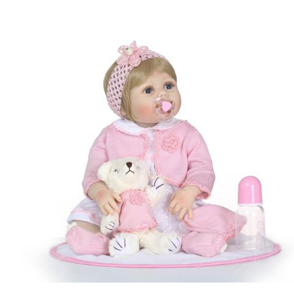 NPK 23 Inch 57CM Silicone Full Girl Body Reborn Doll Real Life Princess Baby Doll For Children's Day