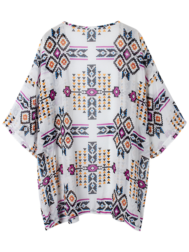 Sexy Printing Loose Beachwear Chiffon Cardigan Cover Up
