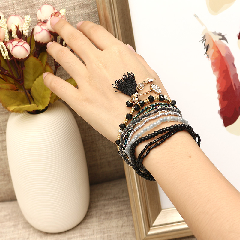 Bohemian Tassel Flower Leaf Pendant Multilayer Beads Bracelets for Women