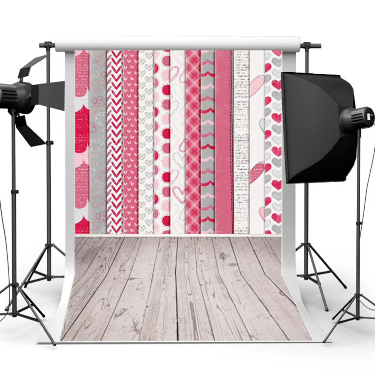 5x7FT Vinyl Valentine's Day Theme Heart Background Backdrop Photography Prop