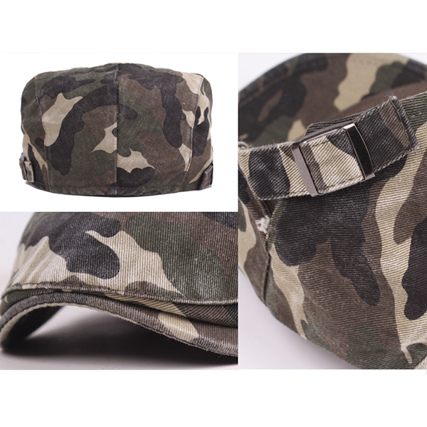 Men Washed Cotton Camouflage Buckle Adjustable Beret Caps