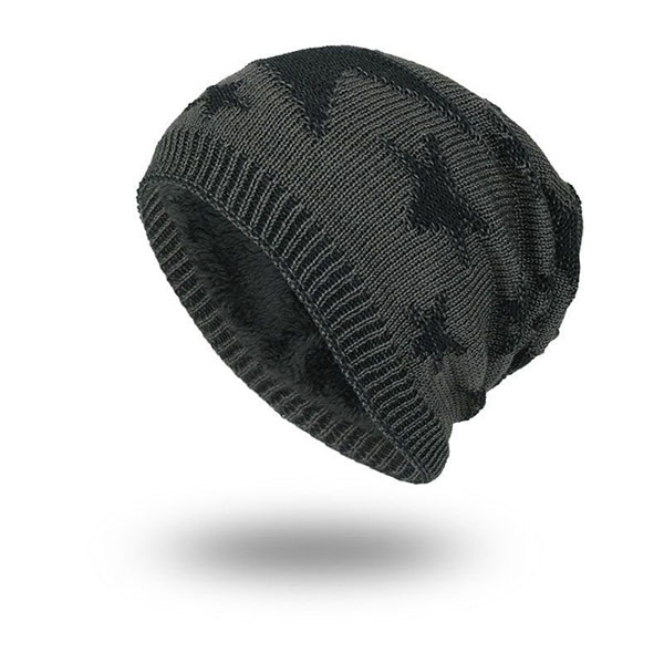Mens Unisex Five Star Pattern Knitted Warm Beanie Cap