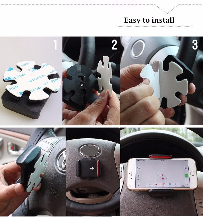LW Car Steel Ring Wheel Holder Phone Stand Extendable GPS Mount Clip for iPhone Samsung Xiaomi Sony