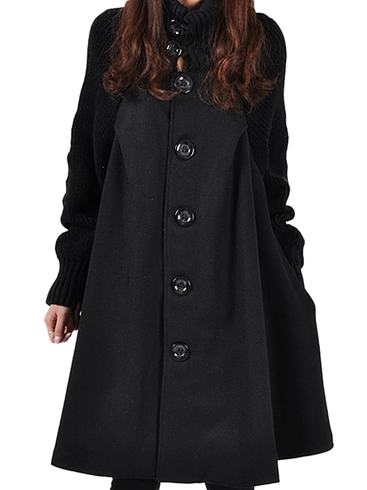 Patchwork Single-Breasted Women Turtleneck Coats