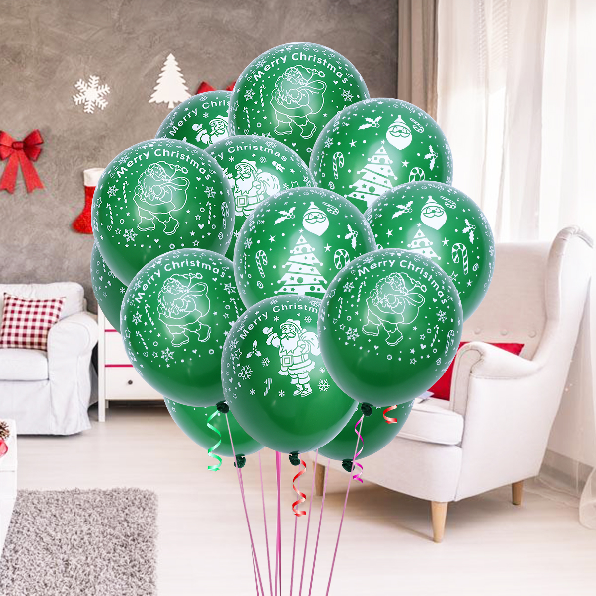 100 Pcs 12 Inch Green Color Christmas Party Balloon Interior Decoration Santa Claus Latex Balloons