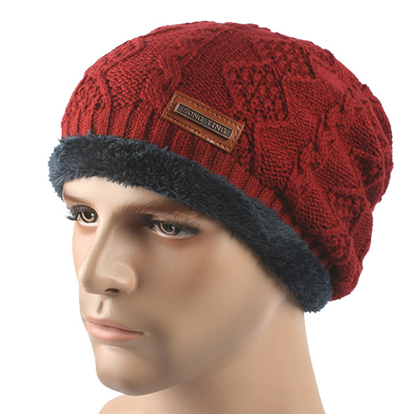 Men Knitted Lining Coral Fleece Warm Beanie Hat