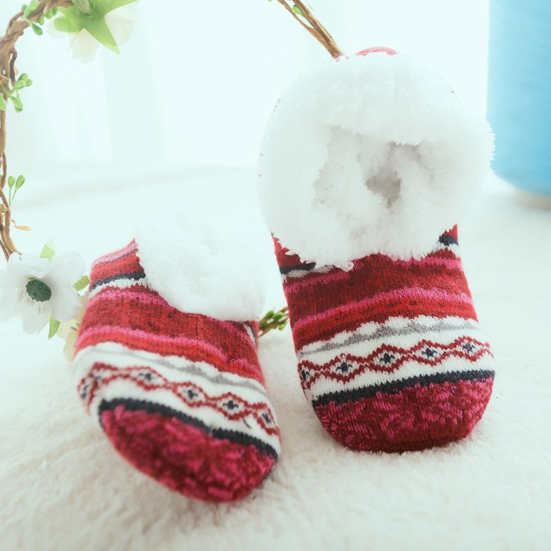 Women Girls Winter Plus Velvet Jacquard Anti-Slip Yoga Socks