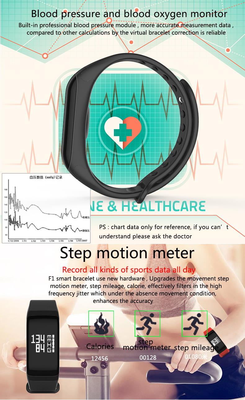 KALOAD F1 Sports Smart Bracelet Heart Rate Monitor Blood Pressure Blood Oxygen Waterproof Smart Watch