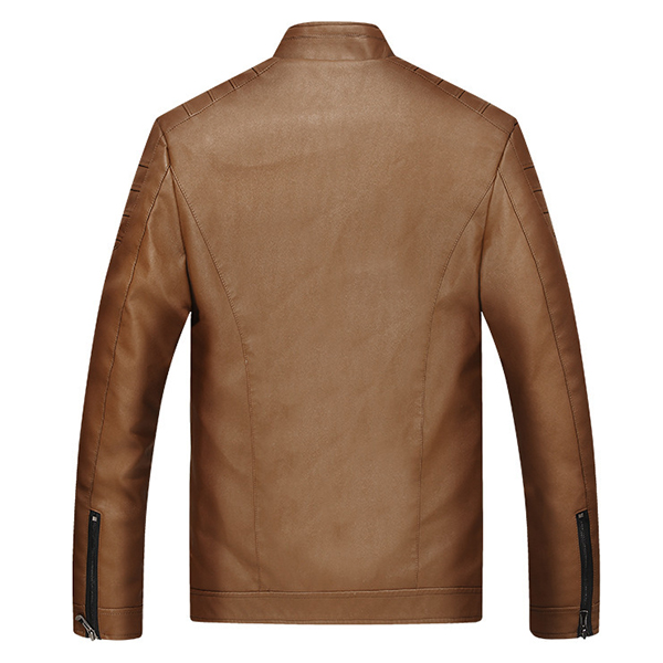 Mens Handsome Stylish Velvet Plus Thick Warm PU Leather Stand Collar Jacket