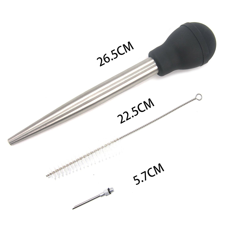 304 Stainless Steel Turkey Baster Syringe Injector Needle with Cleaning Brush