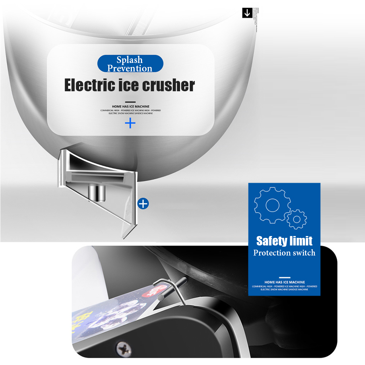 300W Commercial Electric Ice Maker Machine Ice Crusher Shaver Snow Cone Maker