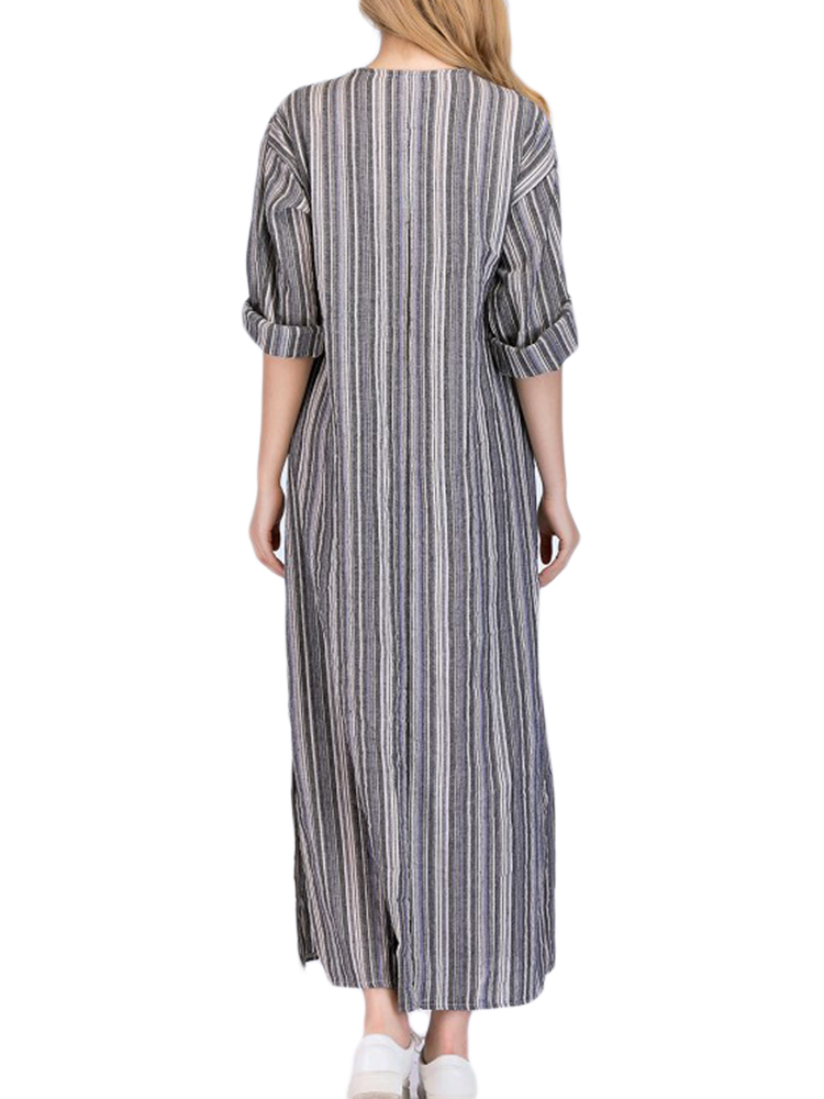 Women Stripe V-neck Big Pocket Maxi Dress