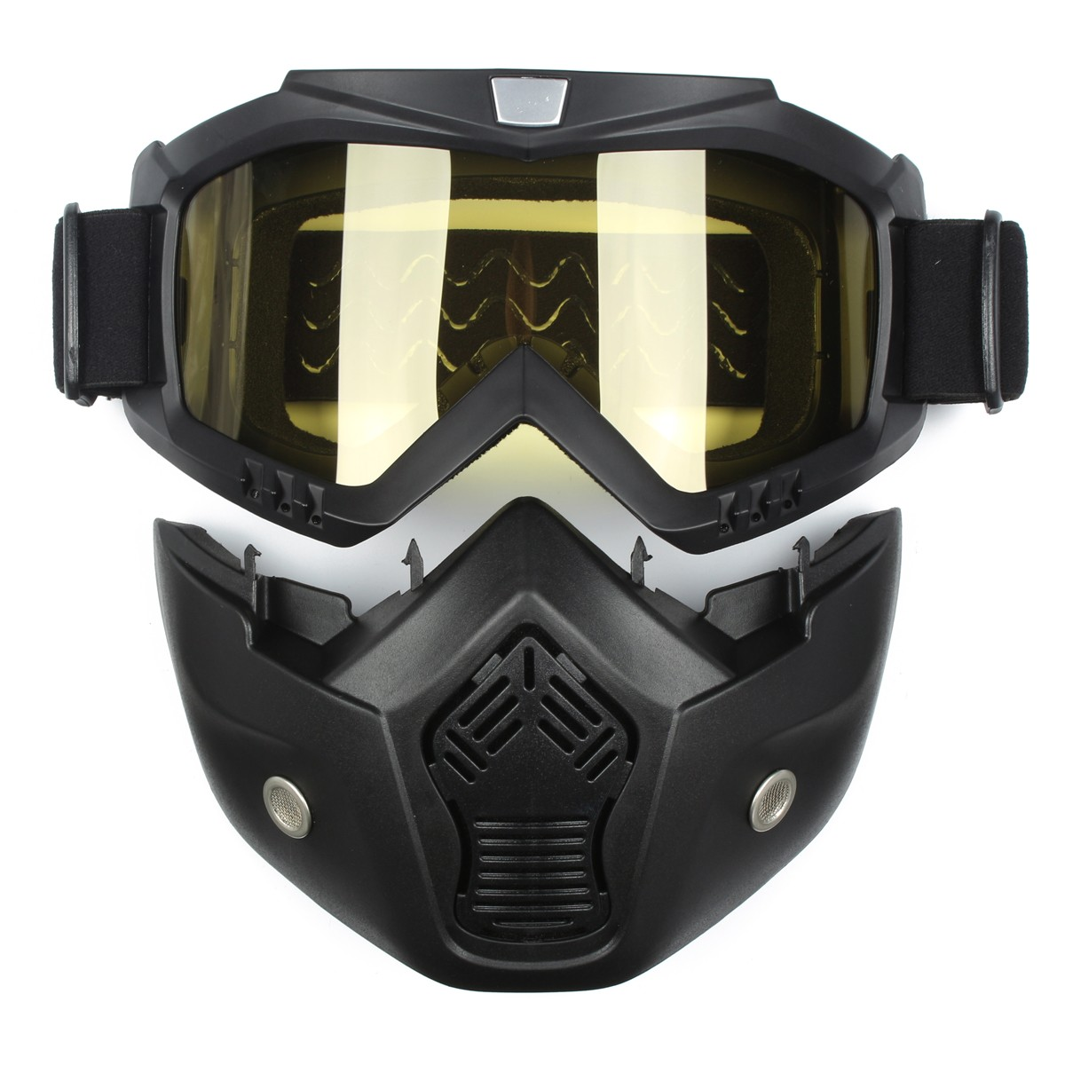Detachable Modular Helmet Face Mask Shield Goggles Yellow Lens Motorcycle Bike