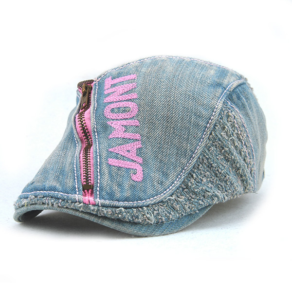 Unisex Cotton Denim Jeans Washed Beret Hat Paper Boy Zipper Decorative Duckbill Buckle Cabbie Cap