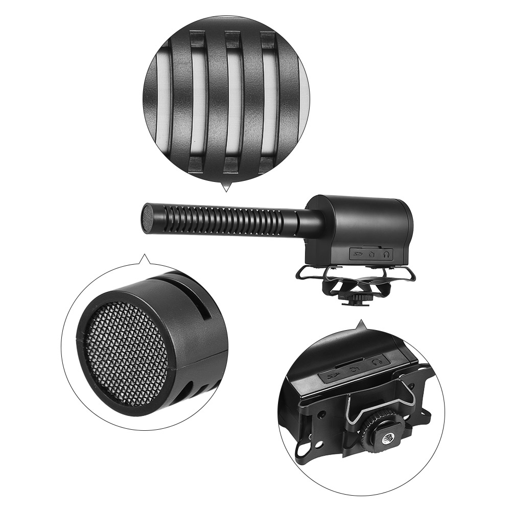 BOYA BY-DMR7 Broadcast Quality Condenser Microphone with Flash Recorder for Canon for Nikon DSLR Cameras