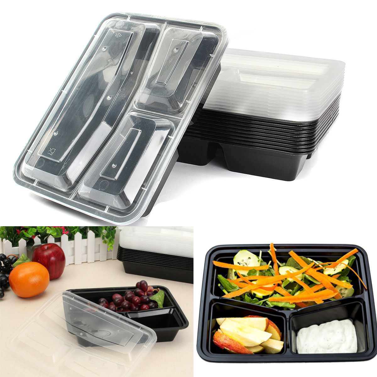10Pcs Meal Prep Containers Plastic Food Storage Microwavable Reusable 3 Compartment Lunch Box