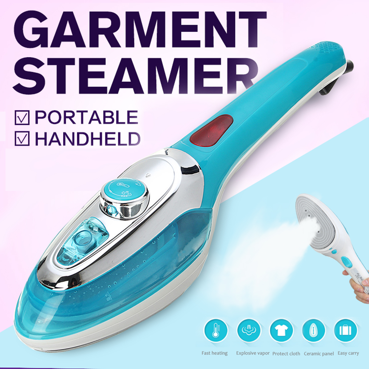 220V 1000W Portable Handheld Garment Steamers Clothes Mini Electric Iron Machine Steam Iron