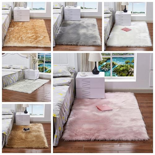 120x60cm Faux Wool Plush Rug Soft Shaggy Carpet Home Floor Area Mat Decoration