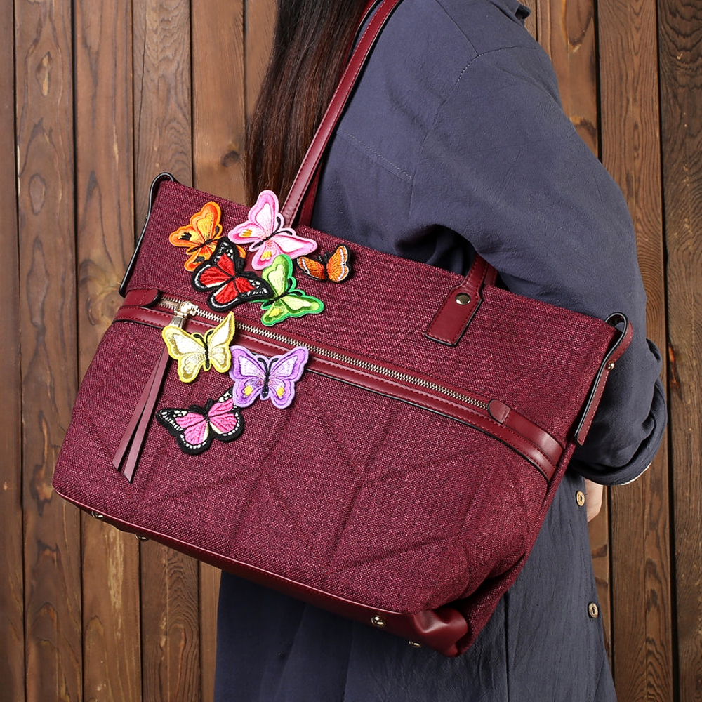Brenice Women Chinese Style Butterfly Handbag Retro Shoulder Bag