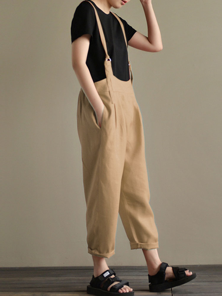 Casual Women Cotton Strap Solid Pockets Jumpsuit