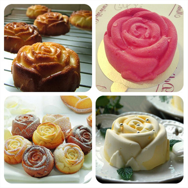 6 Rose Silicone Muffin Cup Cake Jelly Baking Mould DIY Pudding Soap Mold