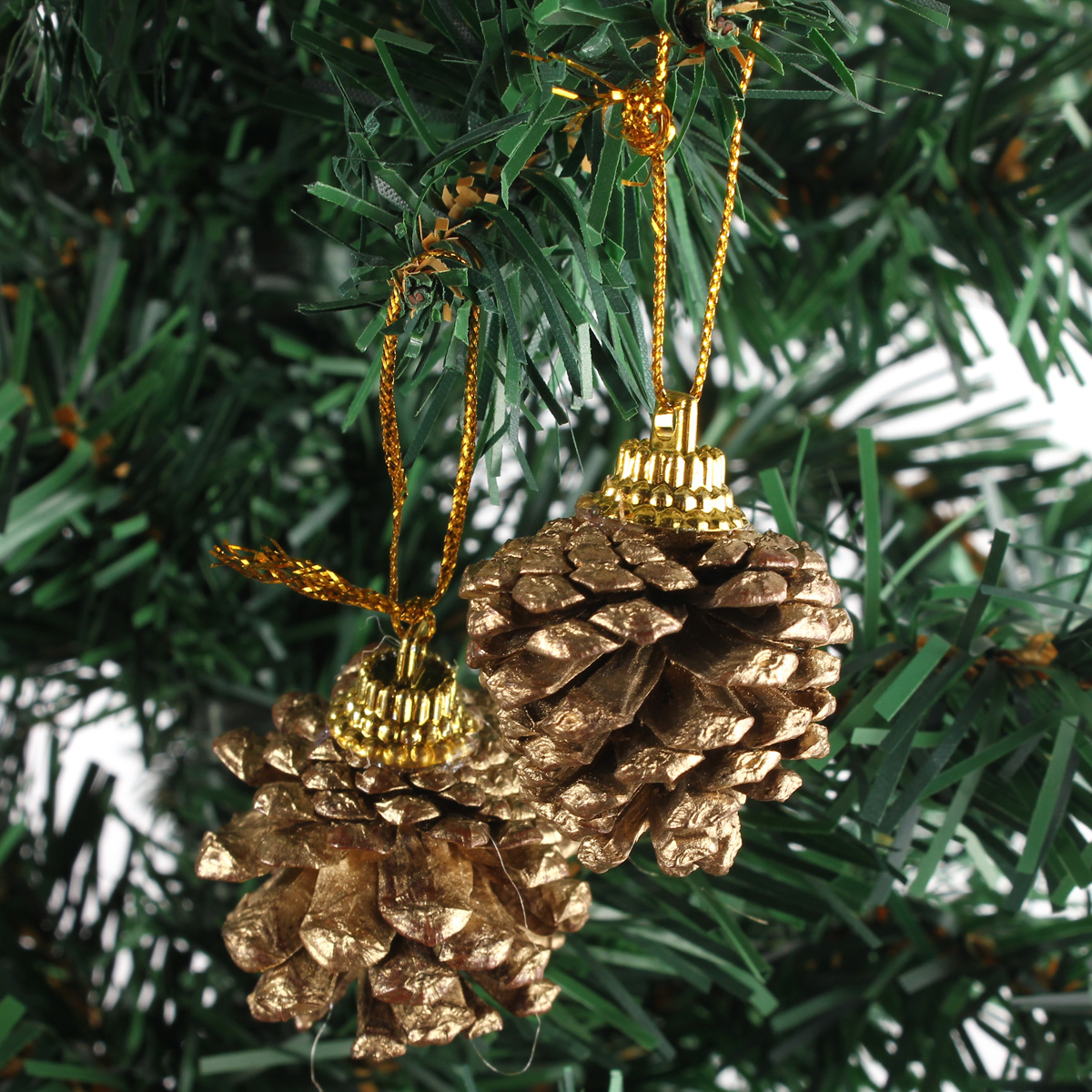 9pcs Christmas Tree Decration Gold Pine Cones Xmas Tree Home Decor