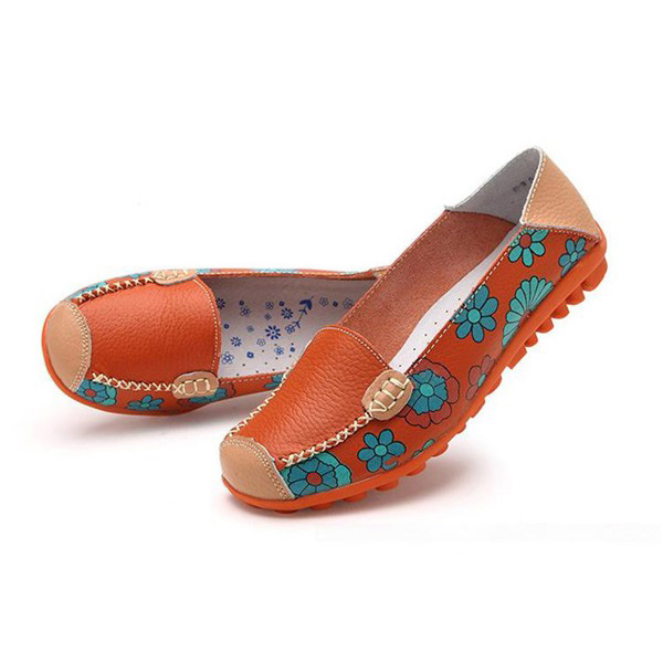 Big Size Women Flower Floral Leather Loafers Moccasins Flats Soft Ballet Shoes Round Toe Flats