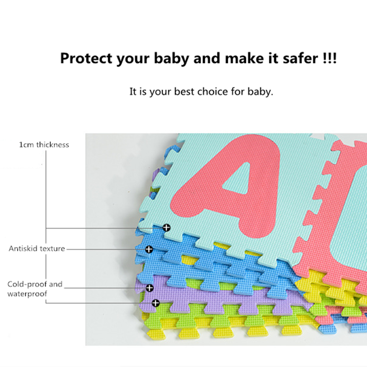Baby Alphabet/Number Foam Exercise Floor Kids Puzzle Play Mat Flooring Tile Game Pads