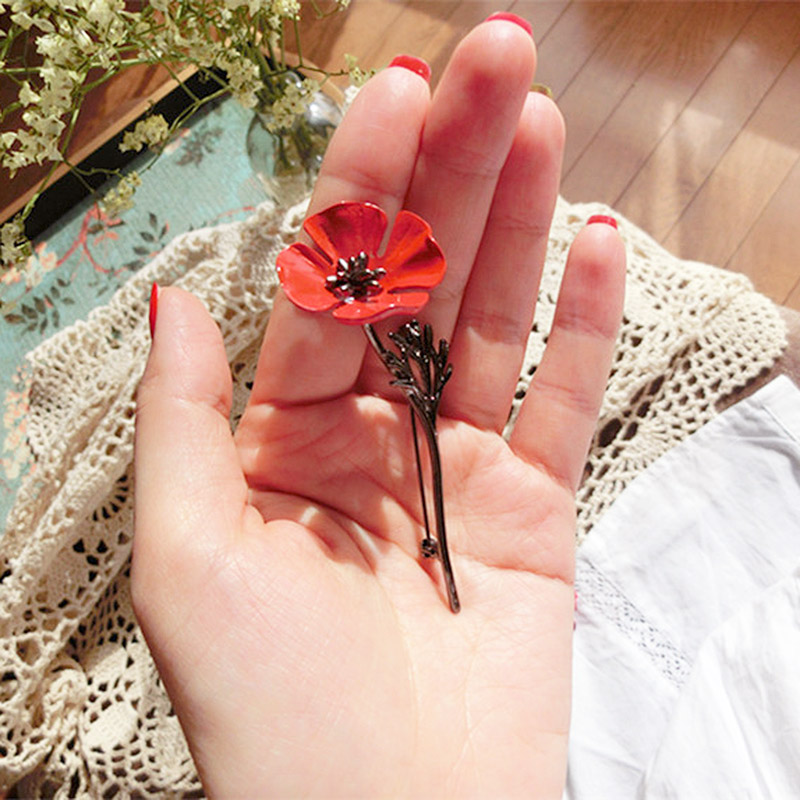 Retro Clothing Brooches Poppy Flower Silver Gold Collar Pins
