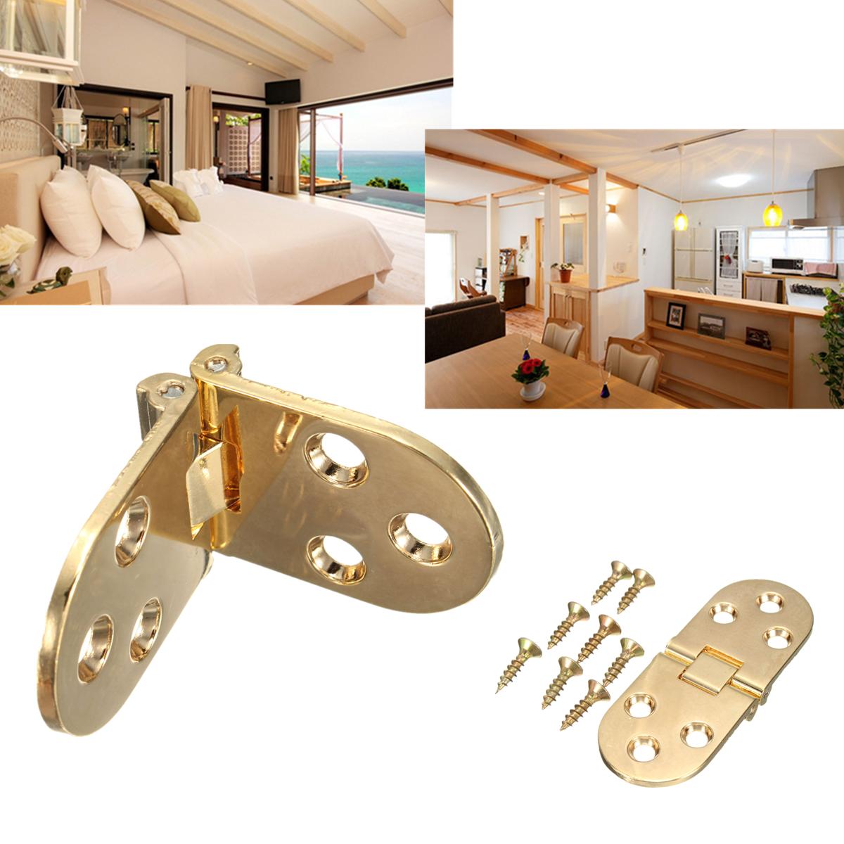 Steel Oval Shape Gold Tone Folding Cabinet Door Kitchen Cupboard Closet Hinge