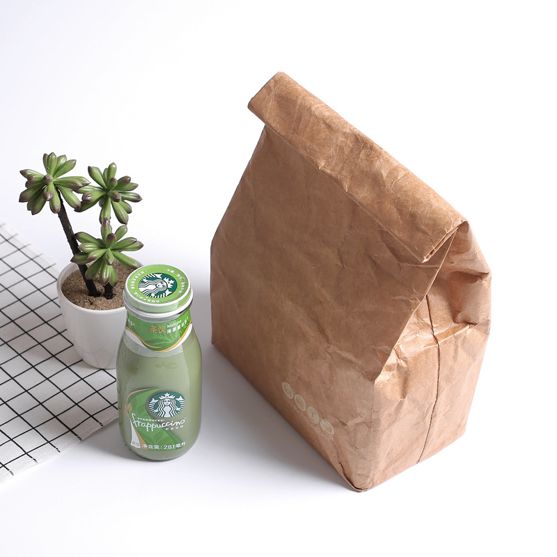 SANNE 6L Brown Paper Lunch Bag Reusable Box Sack Durable Insulated Thermal Kraft Paper Bag Snack Cooler Picnic Container Men Ice Bags