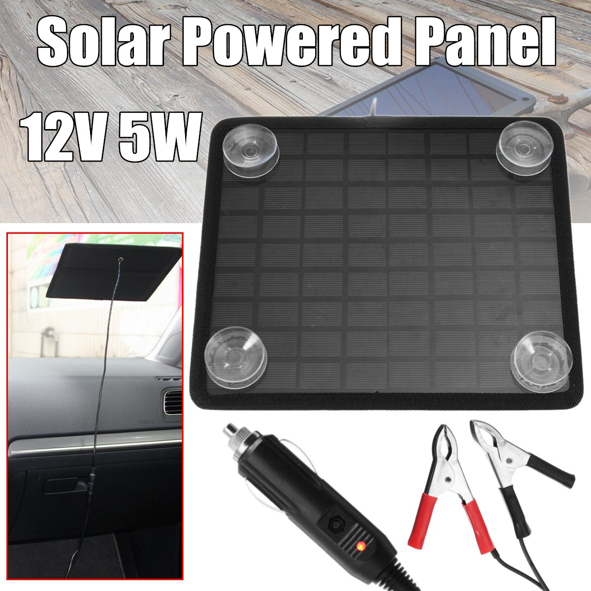 12V 5W Solar Powered Panel Battery Charger With Crocodile Clip Line For Outdoor Car Ship