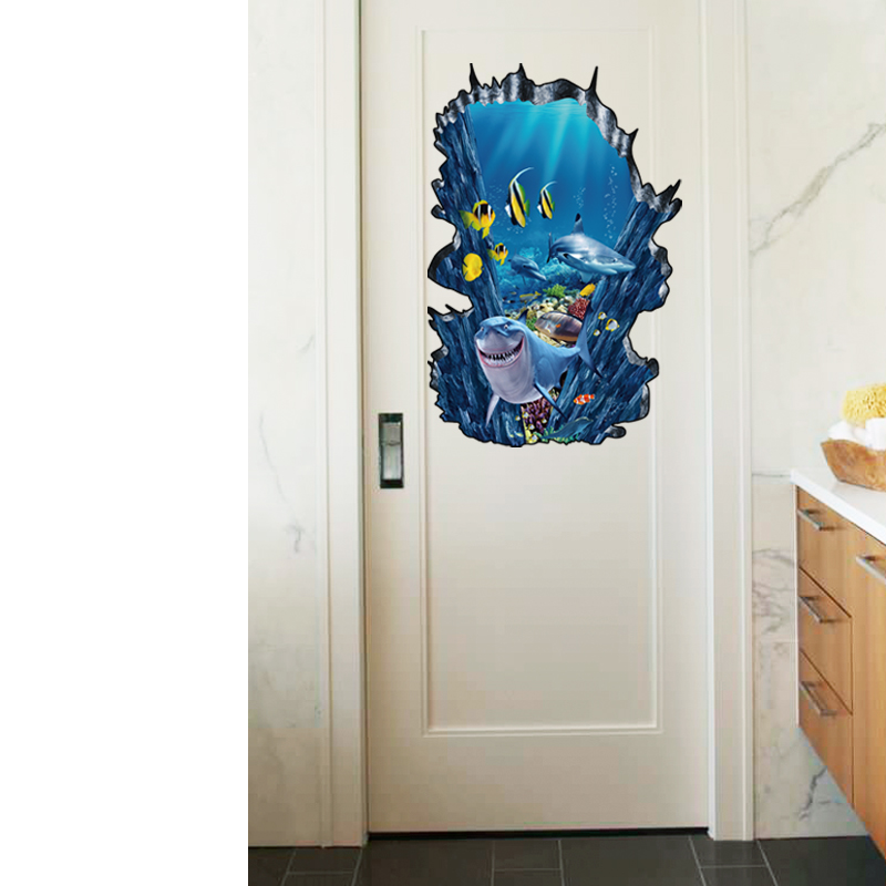 3D Seafloor Ocean Wall Stickers Home Decor Mural Art Removable Ocean World Decor Sticker