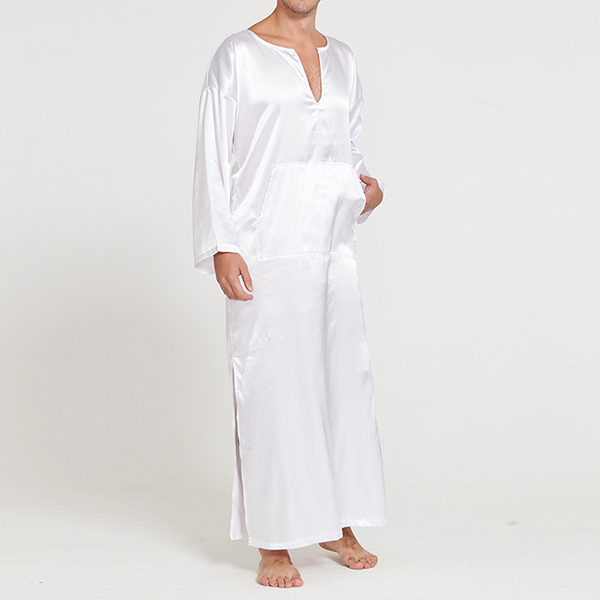 Home Loungewear Soft Imitation Silk Night Gown Bathrobes