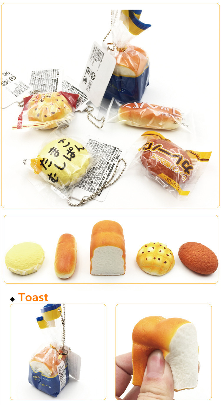 5PCS Squishy Toast Steamed Cake Baguette Bread Small Soft Collection Gift Decor Toy