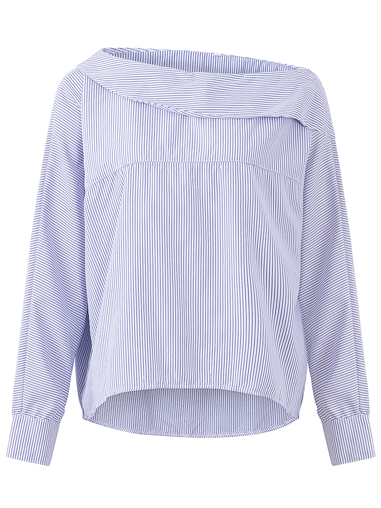 Casual Turn-Down Collar Blouses Striped Cold Shoulder Tops