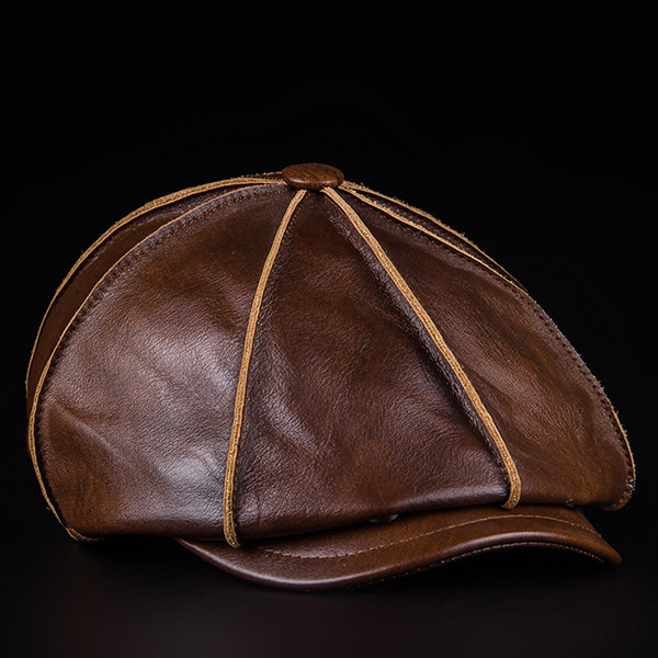 Men's Winter Leather Octagonal Cap Casual Vintage Newsboy Cap Golf Artist Hat