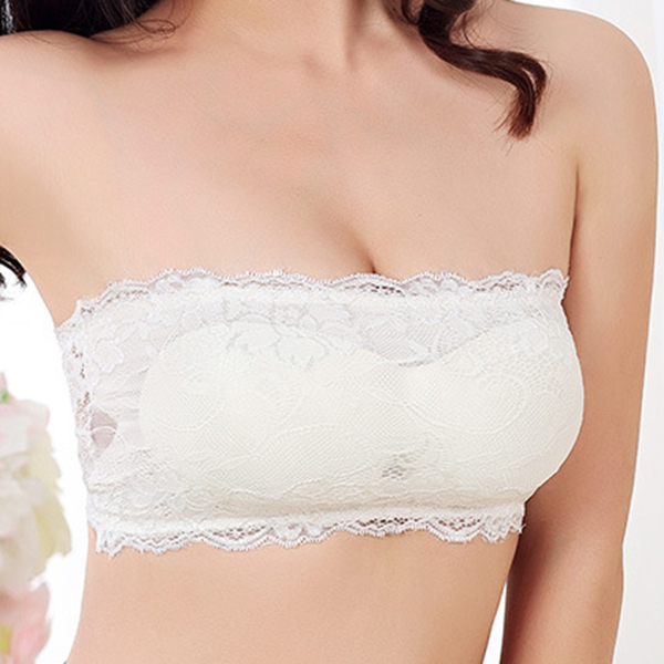 Sexy Lace-trim Full Coverage Breathable Invisible Strapless Bando Bras