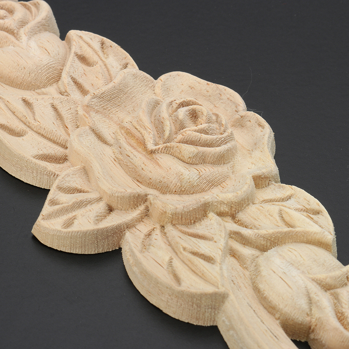 20X5cm Wood Carved Onlay Applique Unpainted Rose Flower Door Decoration