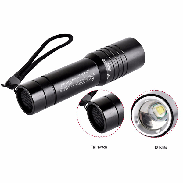 Elfeland L6 3Modes Zoomable Waterproof Diving LED Flashlight 18650