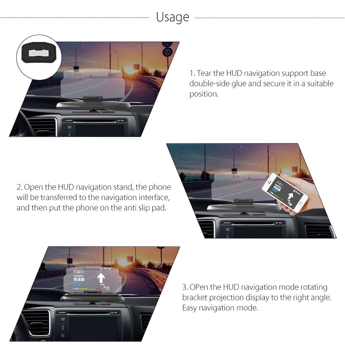 Universal HUD Head Up Display Car Cell phone GPS Navigation Image Reflector Holder Mount