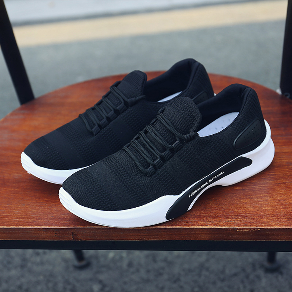 0e9e3be7bbb28 Men Knitted Athletic Shoes Breathable Sports Sneakers Shoes (COLOR  BLACK