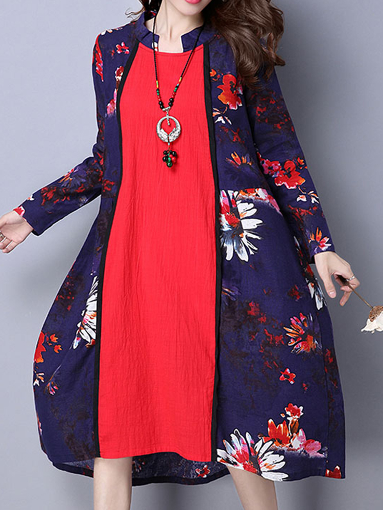 Vintage Women Floral Printed Stitching Long Sleeve Stand Collar Dress