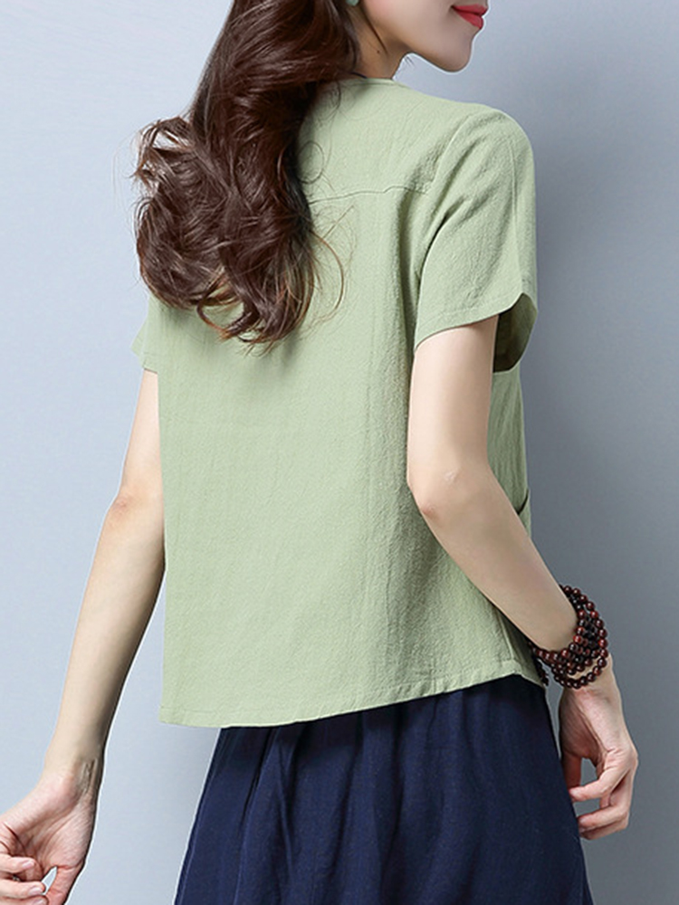 Pure Color Pocket T-shirt
